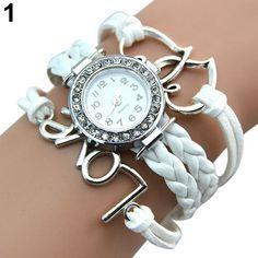 Hot Sales Popular Designed Girl's Faux Leather Love Heart Charm Rhinestone Knitting Bracelet Watch NO181 5UX6