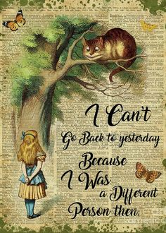 Alice In Wonderland Greeting Card featuring the digital art Alice In Wonderland Quote,cheshire Cat,vintage Dictionary Art by Jacob Kuch