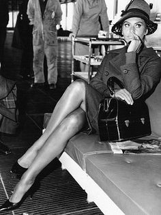 Sophia Loren waiting for a flight to Frankfurt Germany wher eshe will receive the