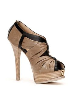 Fendista Peep-Toe Bootie in Black and Taupe with Ruched Detail