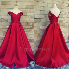 Hot Red Sexy Off-shoulder V-neck Long Prom Dress Formal Dress Red Carpet Dress