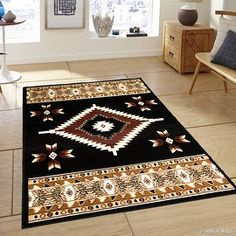 "Allstar Black Woven High Quality Rug. Traditional. Persian. Flower. Western. Design Area Rug (7' 7"" x 10' 6"")"