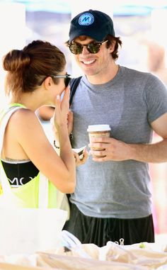 Ian Somerhalder and Nikki Reed likely early date at farmer's market Sunday July 20, 2014 after a running date early Saturday. They also engaged in PDA at a comic con party. Sunday night was dinner date at Craig's Sunday night. Some say sunflowers before that :)