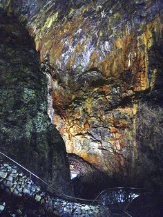 A view from inside Algar do Carvão, Volcano on Terceira, Azores Portugal