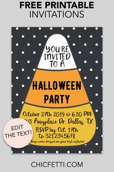Free Printable Candy Corn Invitation - make your own invitations with this free invitation template. This invitation is a great party idea for any Halloween or Pumpkin Carving party! Halloween Birthday Party Invitations, Birthday Party Invitations Free, Halloween Dinner, Cheap Halloween, Halloween Design, Halloween Stuff, Halloween Ideas, Happy Halloween, Free Printable Invitations Templates
