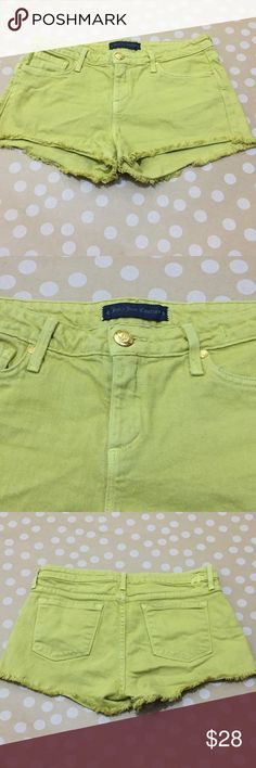 JUICY COUTURE DENIM SHORTS Cutoff Mid-Rise Mustard JUICY COUTURE DAISY DUKE DENIM SHORT JEANS Cutoff SHORTS Mid-Rise size 27 Mustard.  Excellent condition see photos.  Bundle and save! Juicy Couture Shorts Jean Shorts