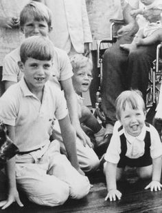 In the back are (on left) David Kennedy and Teddy Kennedy, Jr. In the front are (on left) Michael Kennedy and Christopher Kennedy.