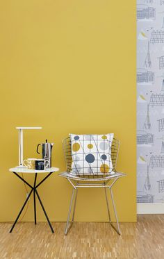 Starting to take notice of this mustard color. Mini Moderns 'Mustard' paint with mustard 'Pavilion' cushion with Sitting Comfortably? + Alice mugs Room Colors, Wall Colors, Colours, Mustard Walls, Mustard Yellow, Mustard Bedroom, Interior Exterior, Interior Design, Modern Interior