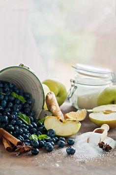 Blueberries, Apples, Sugar, Ginger and Cinnamon