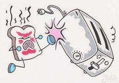 Burnt toast kicking a toaster's butt. One of my ancient works... #kawaii #illustration by #SarahsSafari