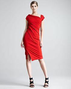 Structured Matte Jersey Cap-Sleeve Dress - Lyst