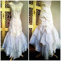 1980s vintage Zum Zum satin lace brocade wedding by reduxvintage, $122.00