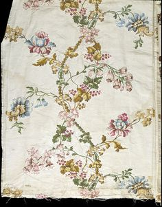 Dress fabric. C. 1736.  Woven silk brocaded with coloured silks.  Part of a gown.  #T.35 to B-1963.
