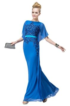 Sisjuly Women's Sheath Appliques Beading Chiffon Long Homecoming Dress 26 Blue. Fabric:Chiffon. Style:Bateau Neckline,Appliques Beading Front,Straps. Accessories:Appliques Beading,Sash. Occassions: Perfect for homecoming, prom, cocktail, birthday, party, wedding and other occassions. Rush service and custom service are available. If you have any questions, please contact us freely.