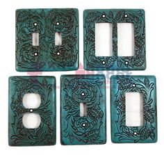 Turquoise Switch Plate Cover Embossed Floral Design Rustic Western Rocker Outlet