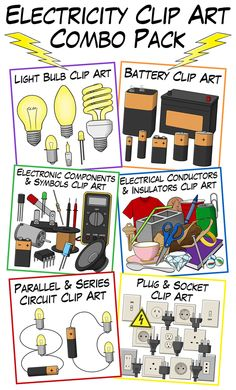 Electricity Clip Art Combo Pack from Digital Classroom Clipart. Includes 260+ high-quality (300 dpi), transparent, PNG images that come in color, grayscale, and lineart. $