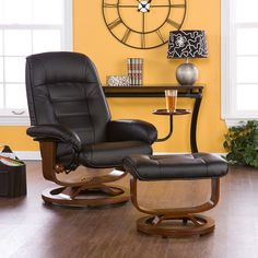 Black Leather Recliner and Ottoman @Crowdz