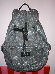 victorias secret backpack in silver glitter!! love it !!