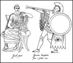 Male everyday dress was very similar as shown in this image of the Greek poet. Beside him is agReek trumpeter.