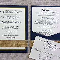Aubergine envelope/backdrop, cream paper, dark purple font, burlap wrap embellishment.