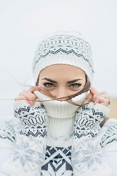 Stock photo of Young woman wearing white sweater and hat winter portrait by jovanarikalo Face Pictures, Men Photoshoot, Shooting Photo, Photography Women, Photography Ideas, Portrait Photography, Black And White Pictures, Female Portrait, Winter Hats