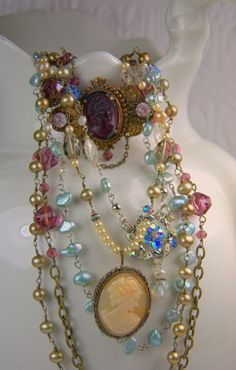 Vintage Necklace.  All the colored crystal beads and the cameo well they are just great.