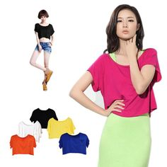 111568b9c72b5 LADIES TURTLE ROUND NECK SHORT SLEEVE CROP TOP T SHIRT TOPS WOMENS TOP 8-14
