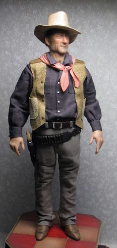 1:12th scale miniature 'John Wayne' doll by artist Sharon Cariola - I asked Sharon to do this doll for me, John Wayne turned out very good I think!!