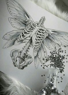 Okay but with bird wings dibujos calaveras Kunst Tattoos, Body Art Tattoos, Art Drawings Sketches, Tattoo Drawings, Drawing Art, Skull Drawings, Skull Sketch, Abstract Sketches, Bird Sketch