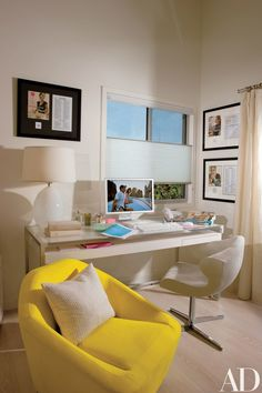 """In her office, """"Giada burns the midnight oil writing recipes,"""" reveals Thompson. Her cookbook covers decorate the walls. """"I became a chef to be in the background,"""" De Laurentiis says. """"To make people happy but sort of live in my own world."""" 