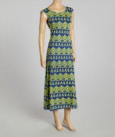 Navy & Yellow Geo Maxi Dress is perfect! #zulilyfinds