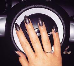 Grey stiletto nails by me 💅🏼 Stiletto Nails, Shellac, Overlay, Acrylic Nails, Grey, Beauty, Gray, Overlays, Acrylics