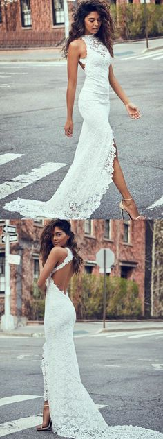 chic halter backless wedding gowns, perfect split lace wedding dresses for dreamy wedding.