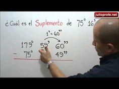 Hallar el suplemento de un ángulo: Julio Rios explica cómo obtener el suplemento de 75° 16' 49''. Ejercicio propuesto: ¿ Cuál es el suplemento de 114° 37' 16'' ? Respuesta: 65° 22' 44''