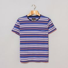 Beams Plus Plain Stitch Border T-Shirt Sax   Beige   Navy 1209e6307ee28