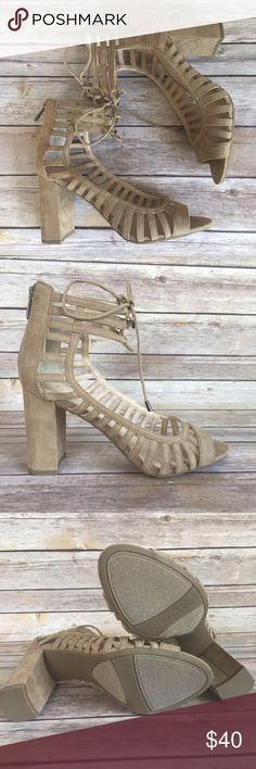 """Franco Sarto : Cut-Out Heels NIB Put your best foot forward in these brand new (in box!) stylish Franco Sarto sandals. Chic cutouts, an oh-so-trendy block heel, lace-up sandals are a must-have!  Condition: New in Box. Color: Dark Sand Size: 8.5 Details: Faux suede upper. Back zipper closure. Ankle cuff with ghillie laces. Lasercut details. Round peep toe. 3½"""" covered block heel. Synthetic sole  No PayPal, holds, or trades. Bundle to save💸. Will consider offers. Franco Sarto Shoes Heels"""