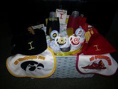 The Iowa/ISU diaper cake! A basket divided!