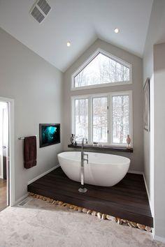 contemporary bathroom by Ryan Duebber Architect, LLC Free-standing tub, dark wood floor