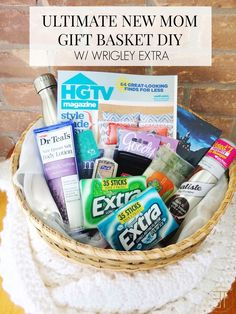 A DIY on how to put together the ultimate gift basket for a new mom sponsored by Wrigley Extra® Gum.  #Sponsored #GIVEEXTRAGETEXTRA #KROGER // www.ElleTalk.com