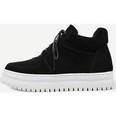 Black Plush Leather Lace Up Flatform Sneakers (€60) ❤ liked on Polyvore featuring shoes, sneakers, leather platform sneakers, platform sneakers, black flatforms, black trainers and black platform sneakers