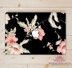 Black and Gold Floral Peach Macbook Case. by MacBookCasesandCo