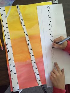 Elements of the Art Room: Grade Fall Birch Trees Fall Art Projects, School Art Projects, Art School, Primary School Art, Projects For Kids, Third Grade Art, Fourth Grade, Birch Tree Art, Ecole Art