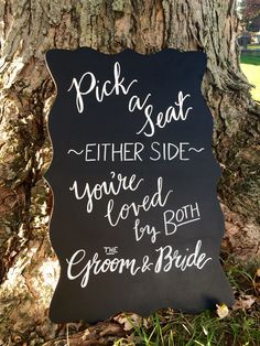 Many brides today are forgoing formal seating for the wedding ceremony. And why not - it's all about love and unity! Made this for a wedding planner friend of mine.  #chalkboardart #weddingsigns #ScriptsakesonEtsy