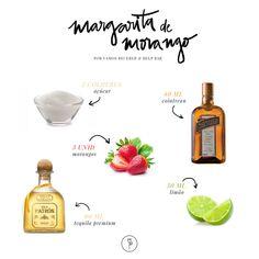 Margarita de Morango Margarita Drink, Patron Tequila, Happy Drink, Bartender, Smoothies, Infographic, Food Porn, Good Food, Alcoholic Drink Recipes