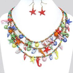 Fun Whimsical Layered Sealife Shells Charms Multi Color Statement Necklace Set #FashionJewelry
