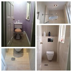 Wc room transformed to wetroom with the addition of a drop head, concealed shower - for our downstairs cloakroom? Wet Room Bathroom, Small Bathroom With Shower, Toilet Room, Small Showers, Tiny Bathrooms, Upstairs Bathrooms, Bathroom Interior, Bathroom Ideas, Tiny Wet Room