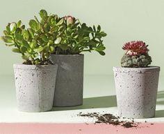 DIY Cement Planters(via Ready Made)