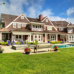 A classic New England red cedar shingle style family home with stunning water views from every room, surrounded by beautiful landscaping and a spectacular pool with a whirlpool, accented by an expansive bluestone patio with a gazebo and fireplace! Listed at $5,495,000 by Gustave White Sotheby's International Realty