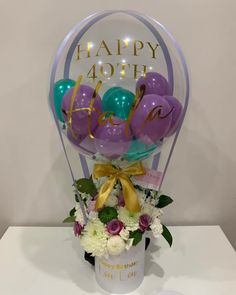 Blooms and Balloons for Hala's birthday 💐🎈 Balloon Box, Balloon Gift, Balloon Flowers, Balloon Bouquet, Hot Air Balloon, Birthday Party Decorations Diy, Birthday Balloon Decorations, Balloon Arrangements, Balloon Centerpieces
