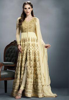 Beige Faux Georgette and Art Silk Abaya Style Churidar Kameez
